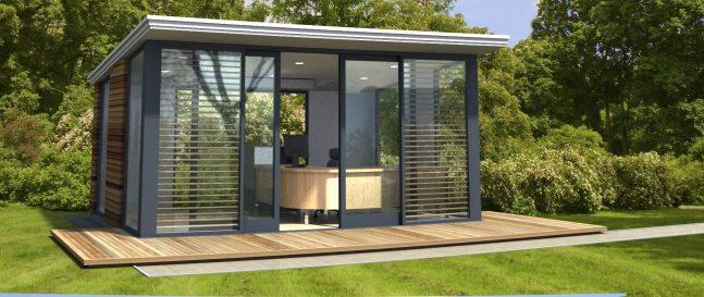 Moderný záhradný domček s posedením