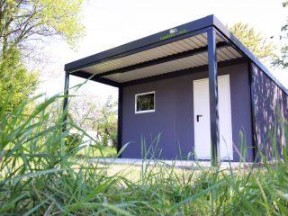 Montovaný záhradný domček s prístreškom