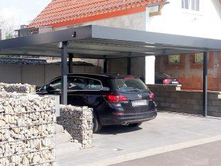 Prístrešok SIEBAU pre dve autá v šedej farbe