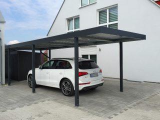 Moderný antracitový prístrešok pre auto SIEBAU