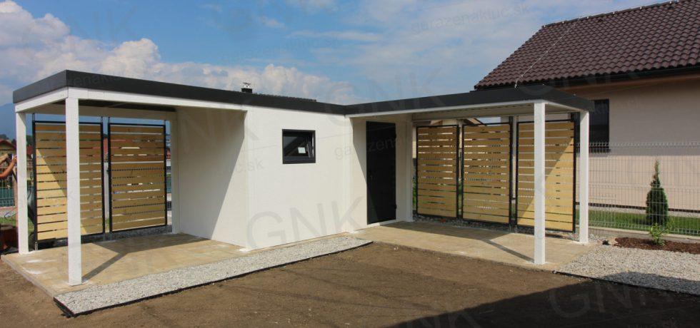 Moderný záhradný domček s prístreškami do tvaru L