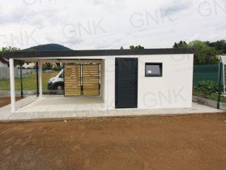 Montovaný záhradný domček na náradie s prístreškom na posedenie