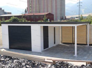 Montovaná garáž pre jedno auto s prístreškom v bielej farbe