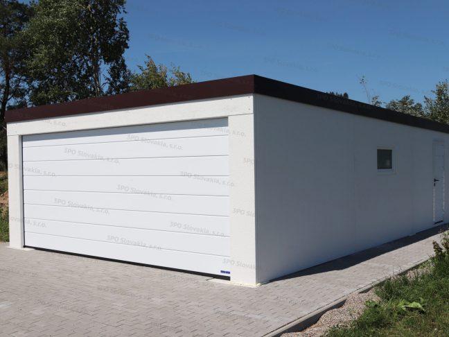 Garáž pre dve autá s bránou Hormann v bielej farbe