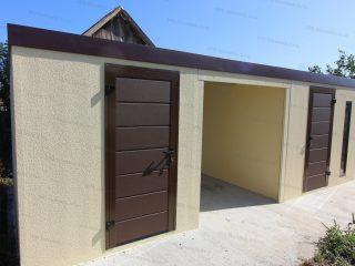 Záhradný domček v atypickom rozmere s hnedými dverami Hormann LPU40