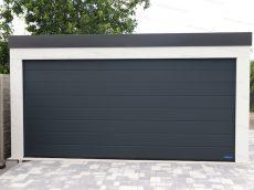 Montovaná garáž GARDEON pre dve autá v bielej omietke