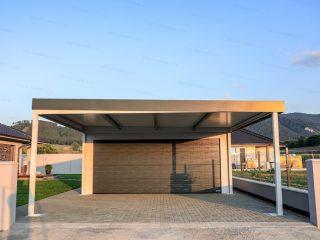 Montovaná oceľová garáž GARDEON pre dve autá v bielej omietke