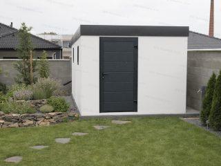Montovaný záhradný domček GARDEON v bielej omietke s antracitovou atikou