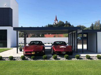 Prístrešok SIEBAU pre dve autá v antracitovej farbe
