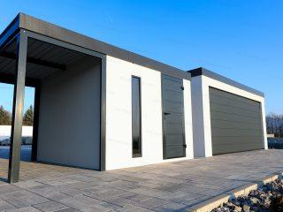 Záhradný domček a garáž GARDEON v bielej omietke