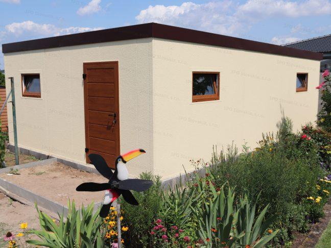 Záhradný domček GARDEON v pieskovej omietke s rovnou strechou v hnedej farbe