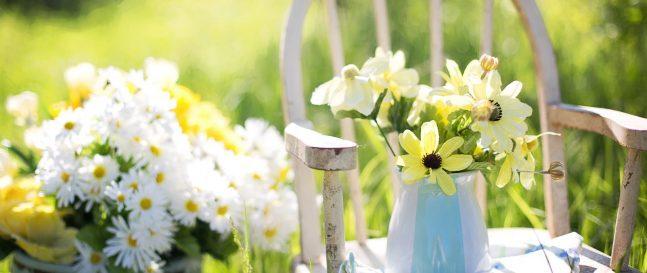 Kvety vo váze na stoličke