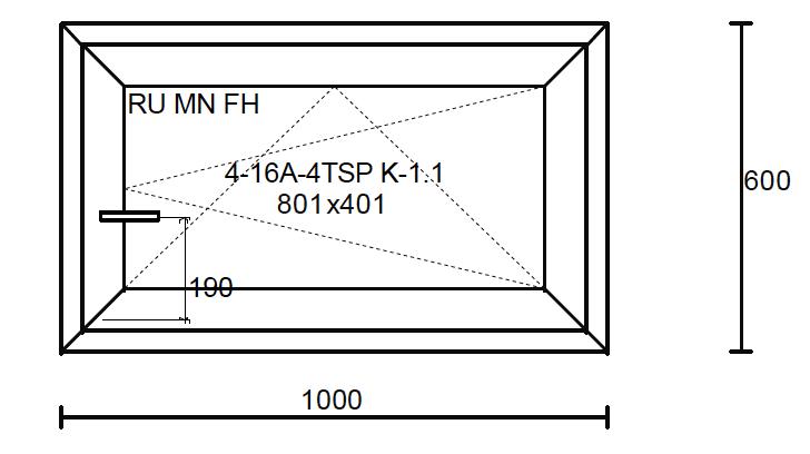 Konštrukčné rozmery okna 1000x600