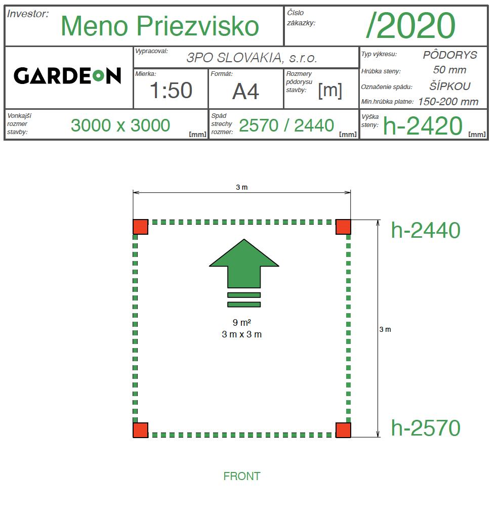 Nákres pergoly GARDEON o rozmere 3x3m
