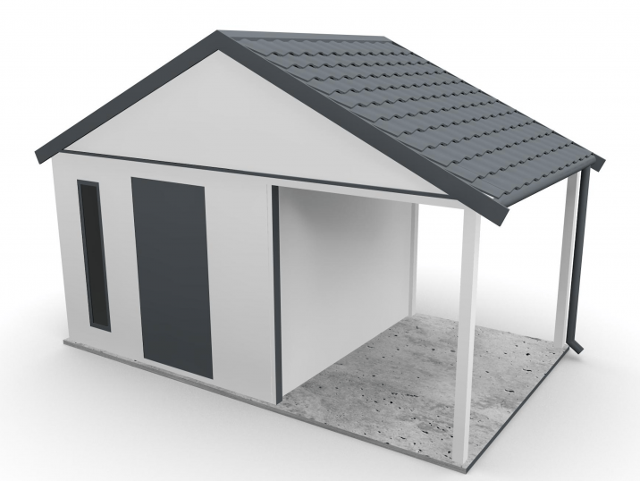 Záhradný domček so sedlovou strechou a prístreškom