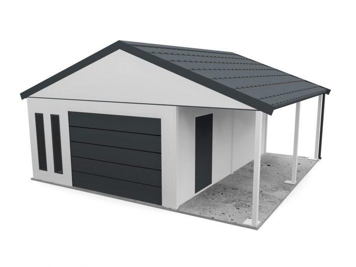 Garáž so sedlovou strechou a prístreškom
