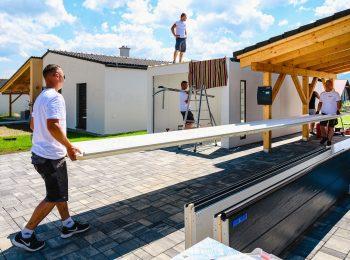 Montáž strechy na garáž